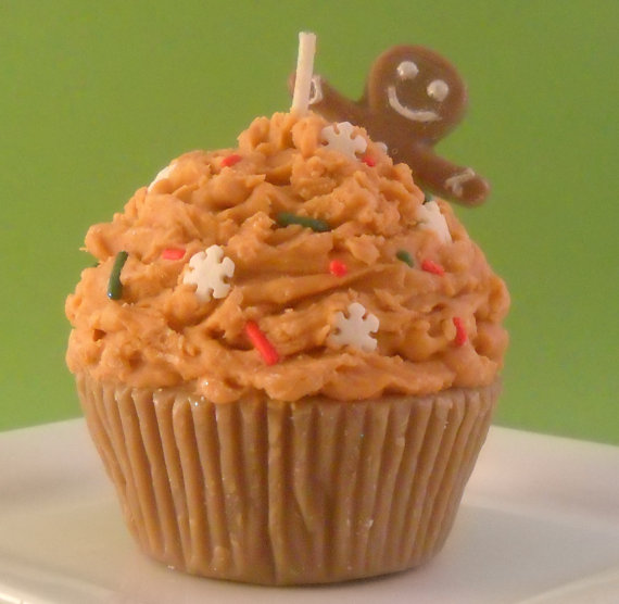 Gingerbread Man Christmas Cupcake Candle Made with soy wax