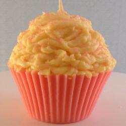 Cupcake Candle Large Pink Lemonade Scented Made with All Natural Soy Wax