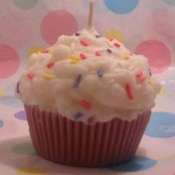 Cupcake Candle With Real Candy Sprinkles Lilac Scented Soy Wax