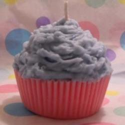 Cotton Candy Cupcake Candle Pink and Blue Soy Wax
